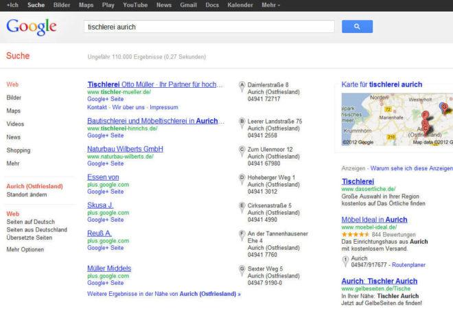 Beispiel einer Ergebnisseite der Lokalsuche von Google