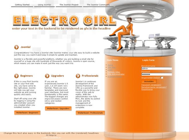 Elektrogirl Webseitenvorlage