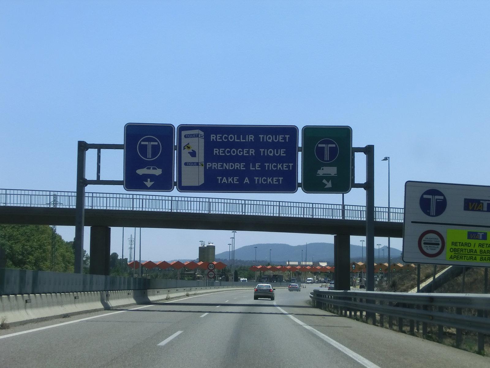 Autobahnschild, Mautstelle
