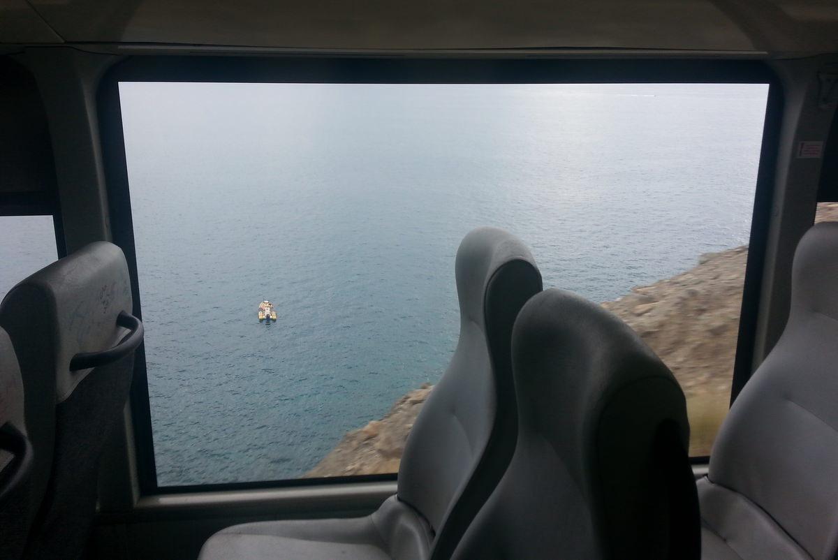 Steilklippen aus dem Bus