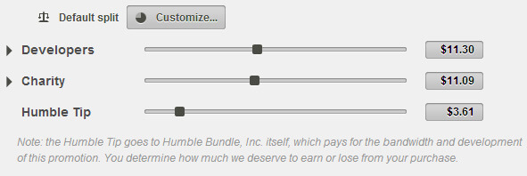 Screen: Humble Bundle Spendenanzeige