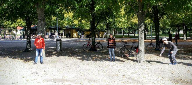 Boule Spieler im Park