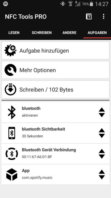 NFC Bluetooth paaring und Spotify starten
