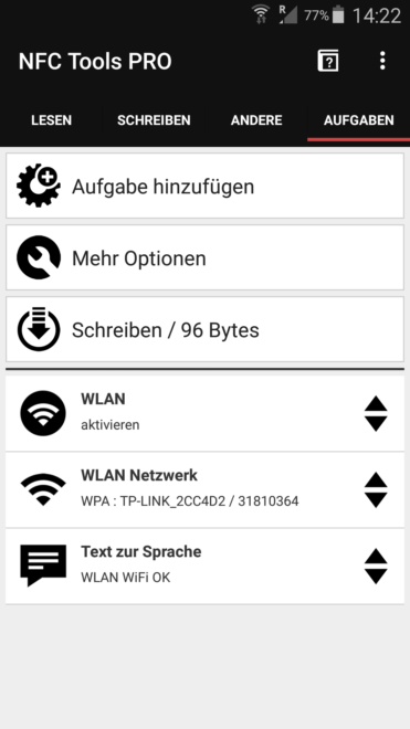 Wlan und Passwort auf NFC programmieren