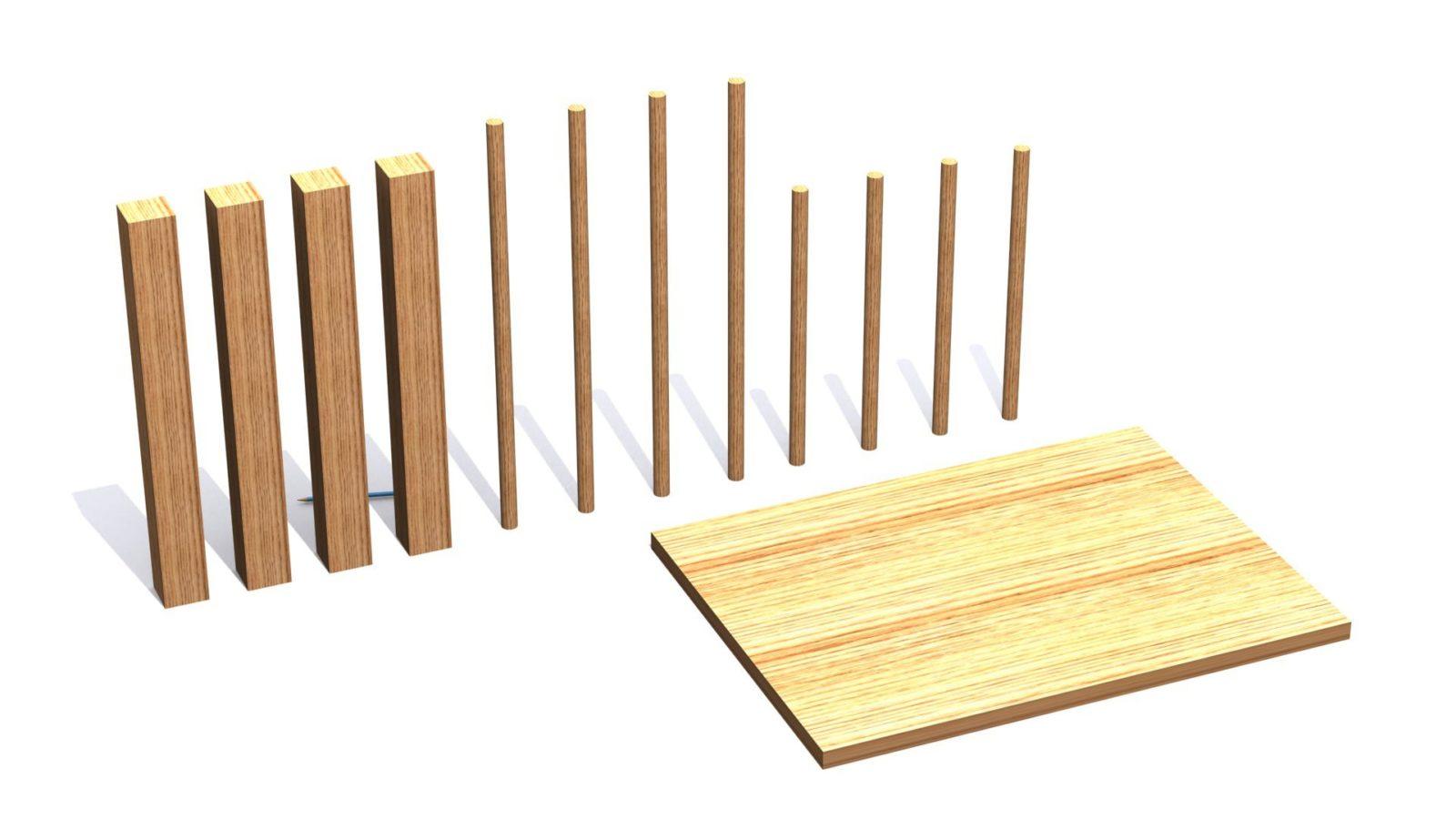 Die nötigen Holzteile für den Tisch