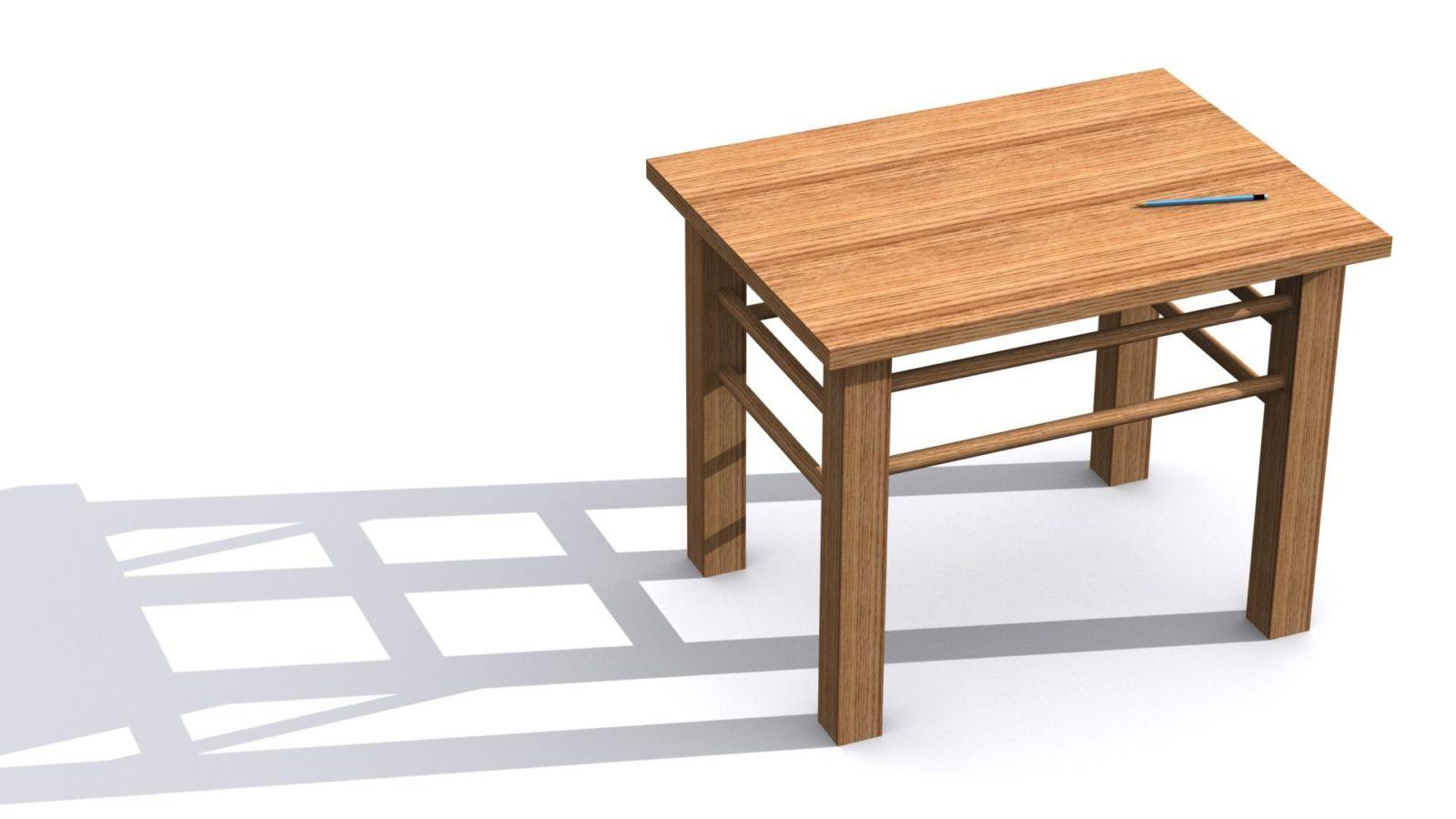 Der selbst gebaute Tisch aus Holz