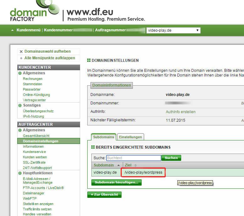 Pfad Einstellungen der Domain
