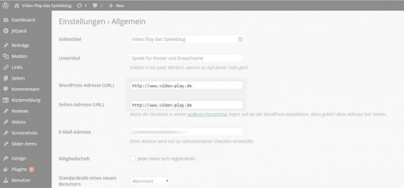 Wordpress Einstellungen