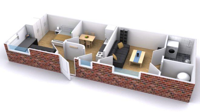 Wohnungsgrundriss im 3D Schnitt