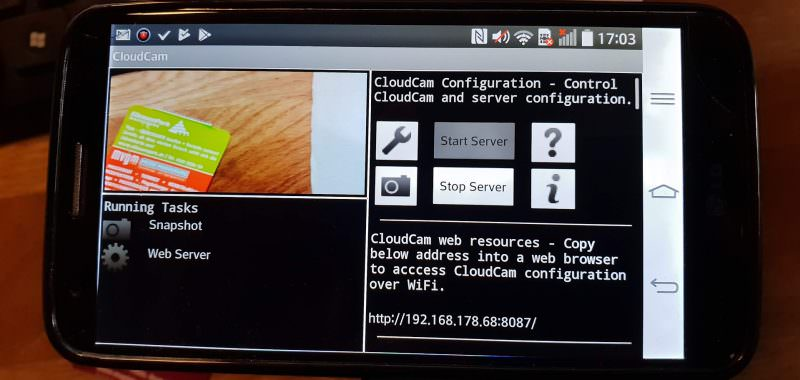 CloudCam Startbildschirm