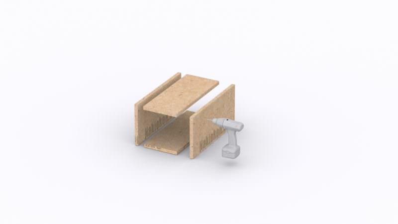 Montage der kleinen quadratischen Boxen