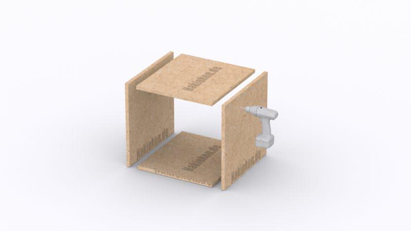 Montage der großen quadratischen Boxen