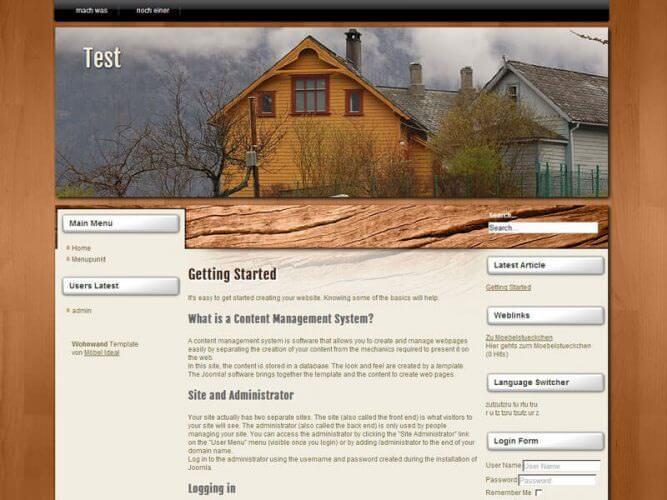 Webseitenvorlage in Holz