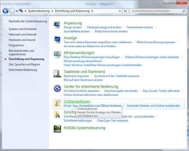 Windows 7 Ordneroptionen Bildschirmfoto
