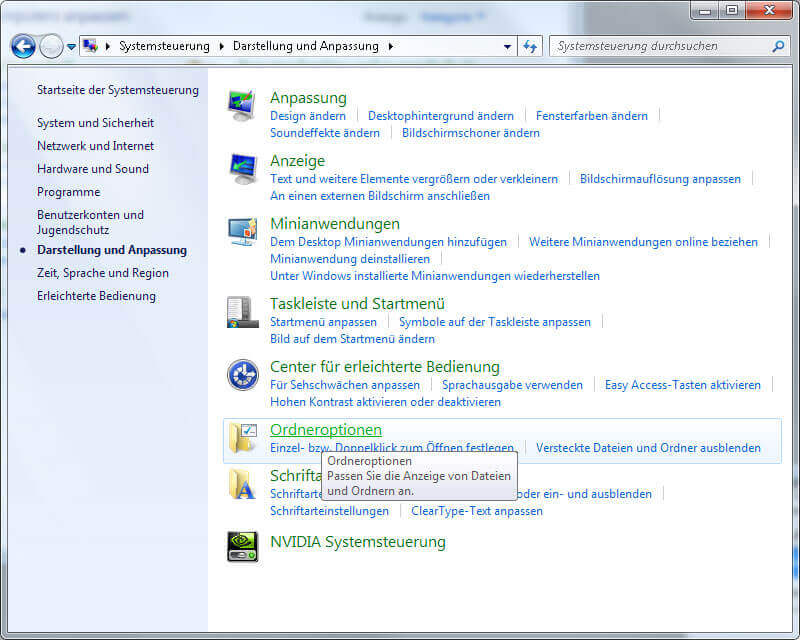 Windows 7 Ordneroptionen Bildschirmfoto
