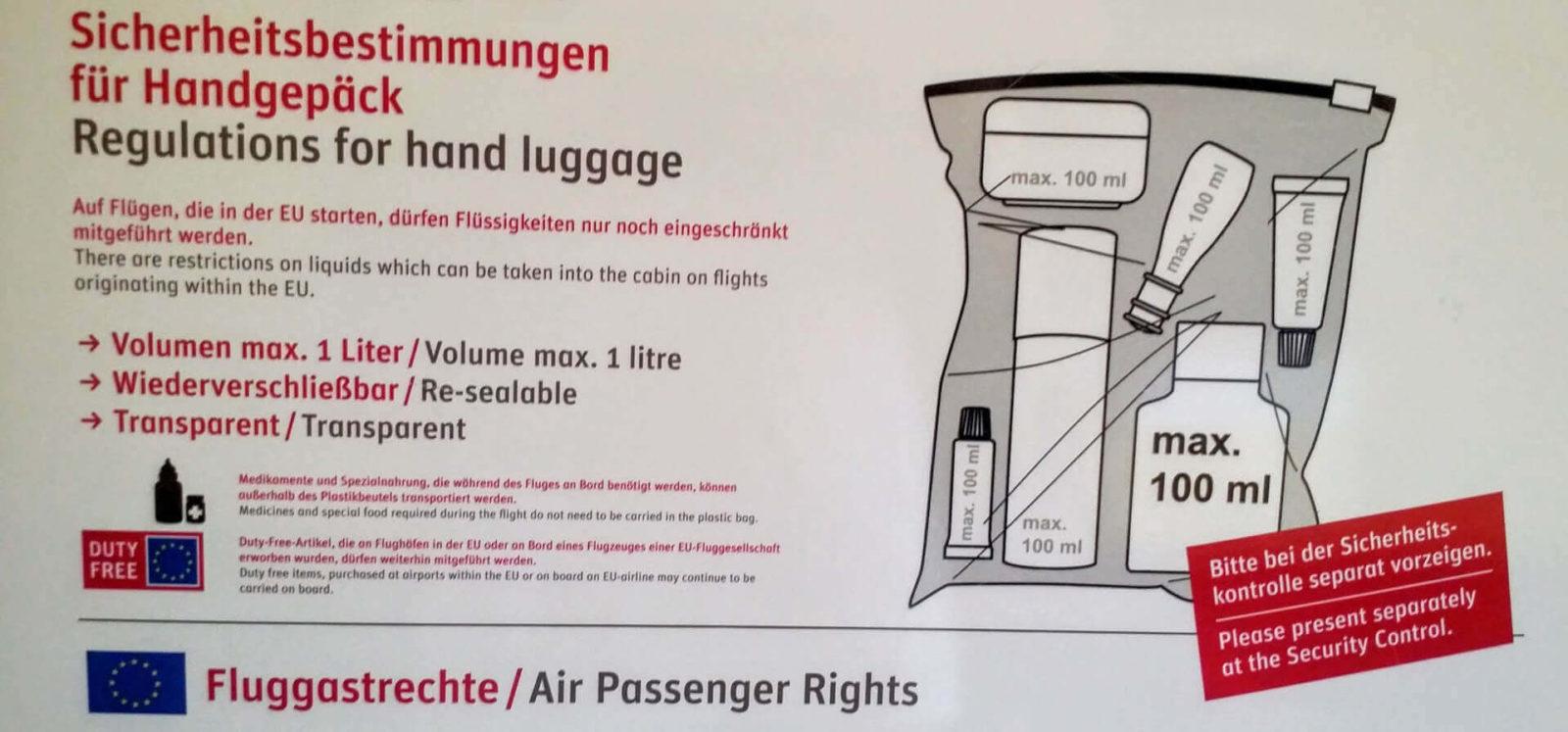 Sicherheitsbestimmungen für Handgepäck