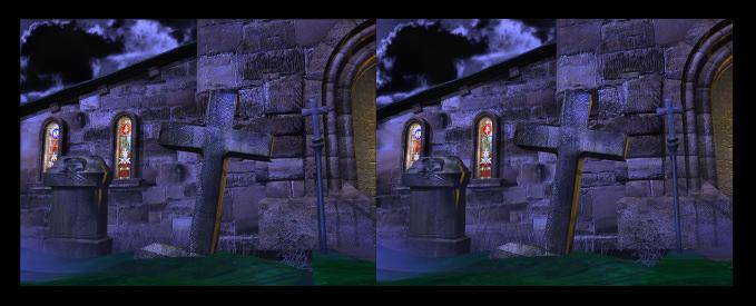 Grabstein 3D Anaglyph für Parallelblick