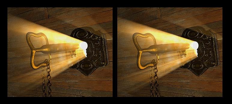 Schlüssel mit Licht 3D Anaglyph für Parallelblick