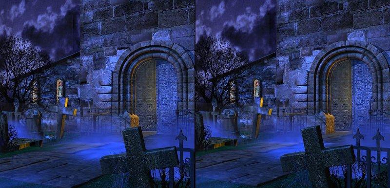 Friedhof 3D Anaglyph für Parallelblick