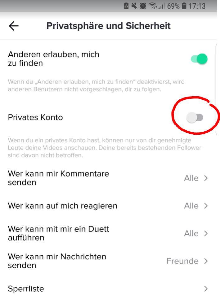 TicToc Konto auf Privat umstellen