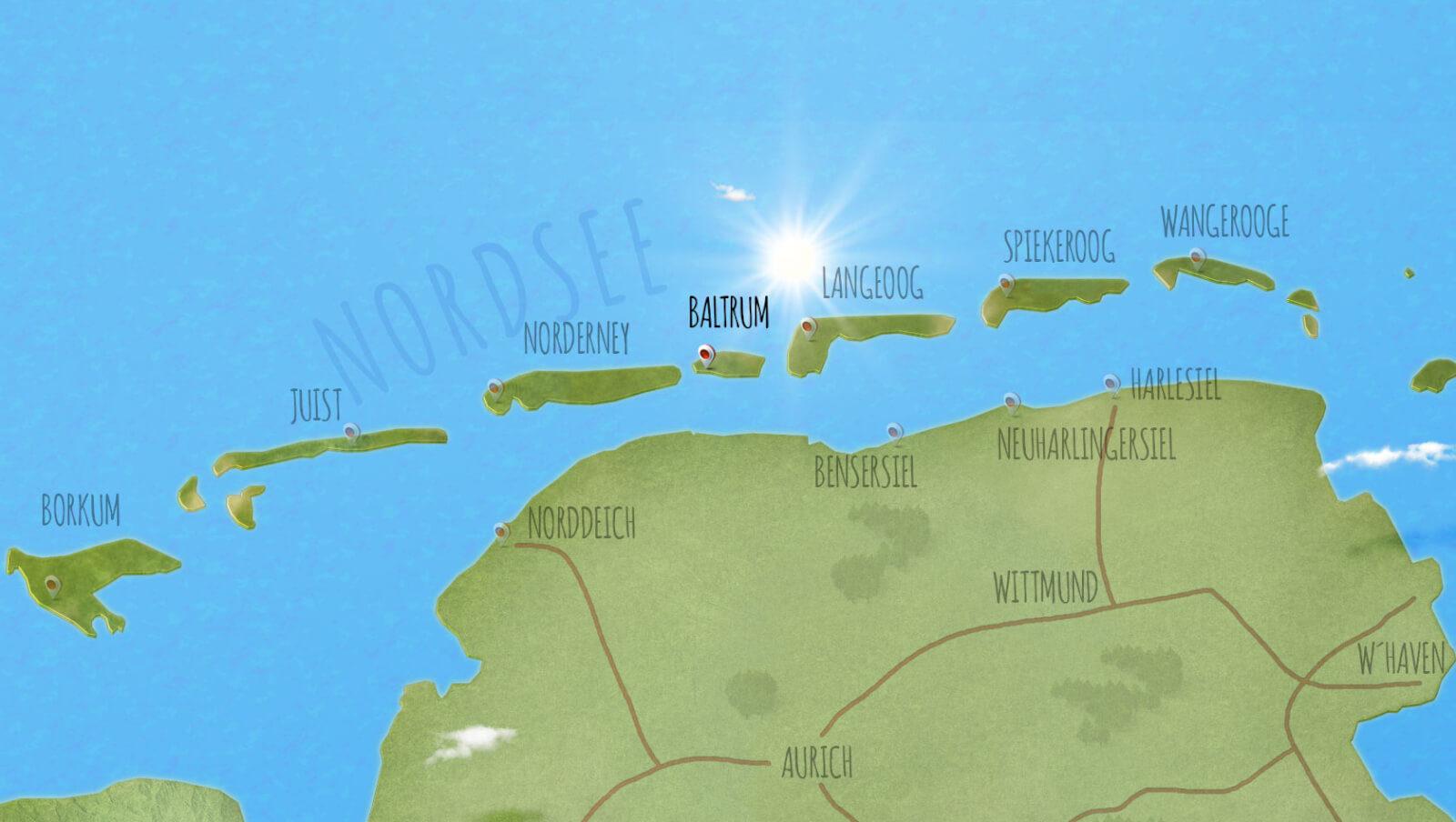 Wo liegt Baltrum? Zwischen Norderney und Langeoog