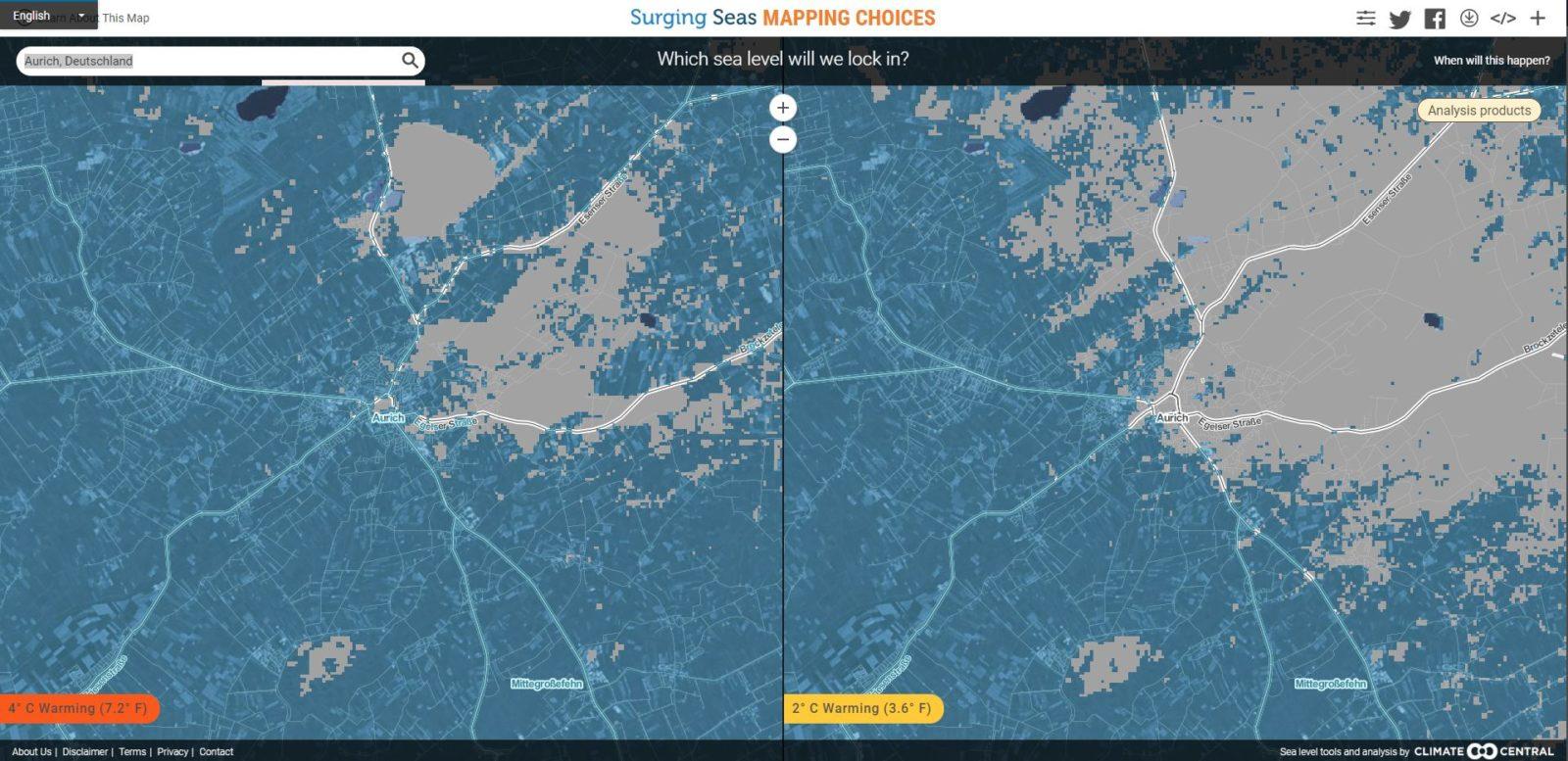 Aurich bei 2 und 4 Grad Erderwärmung in der interaktiven Karte