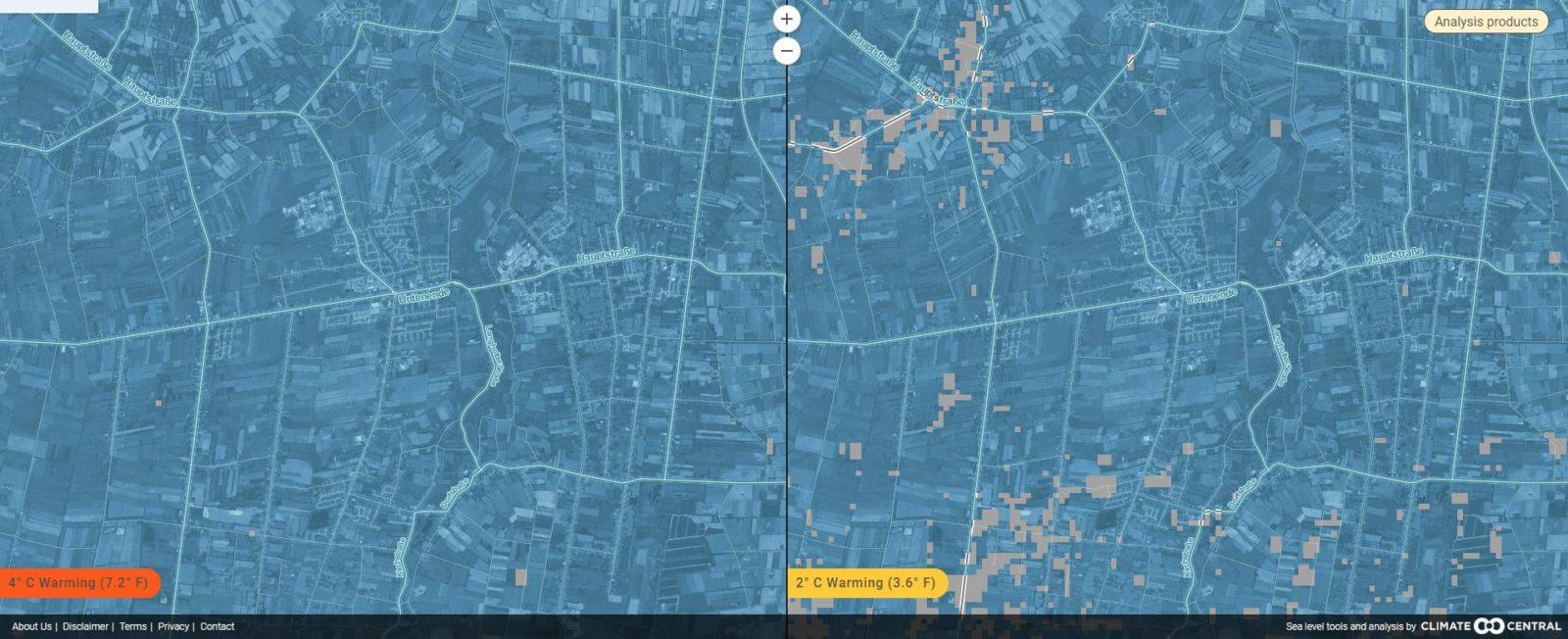 Rhauderfehn bei 2 und 4 Grad Erderwärmung in der interaktiven Karte