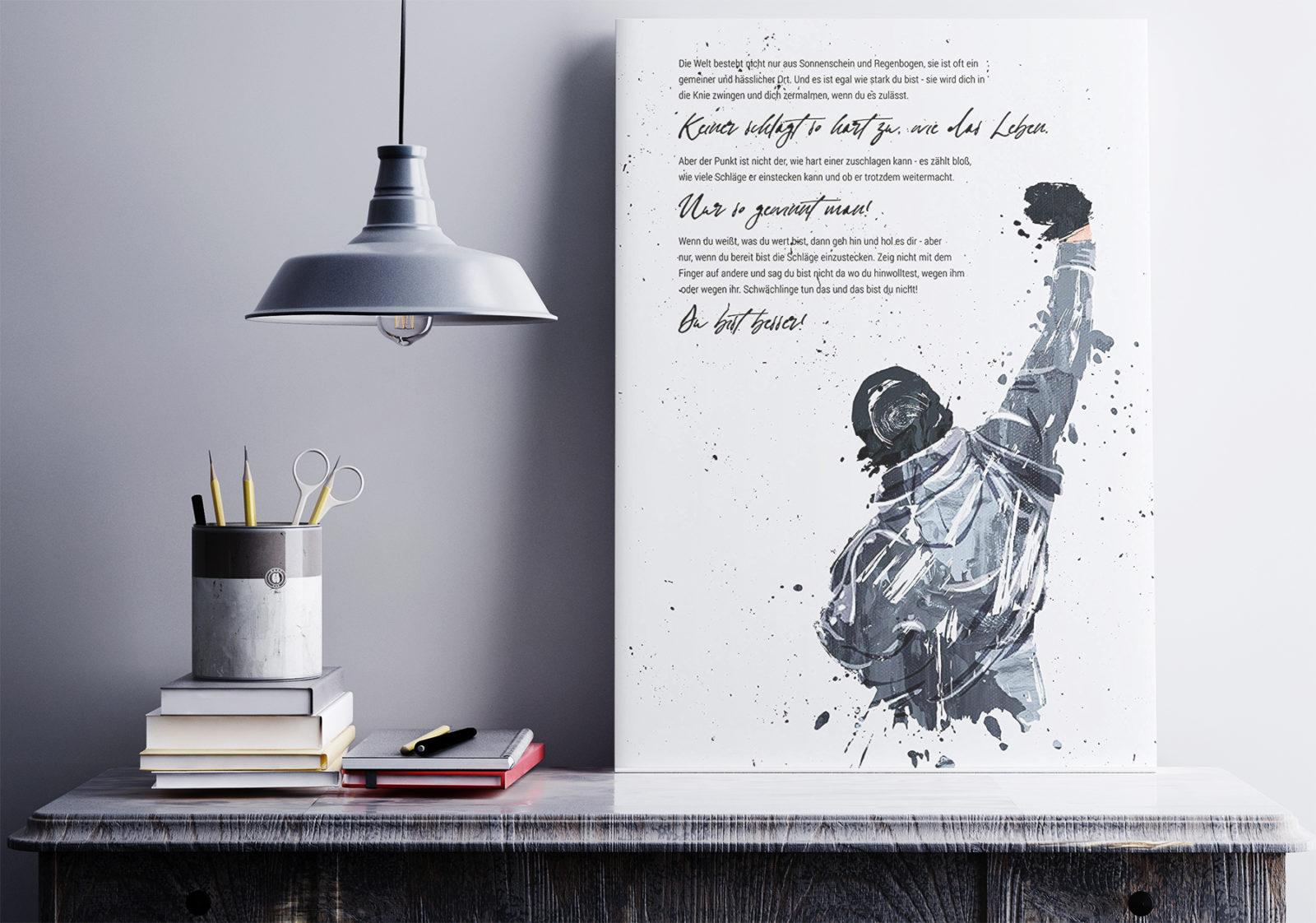 Raum mit Rocky Poster und Weisheiten